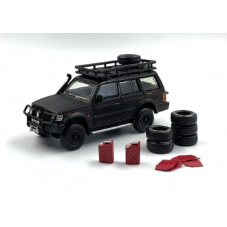 BM Creations 1:64 1996 Mitsubishi Pajero 2nd Generation Jungle Pack Matt BlackLHD